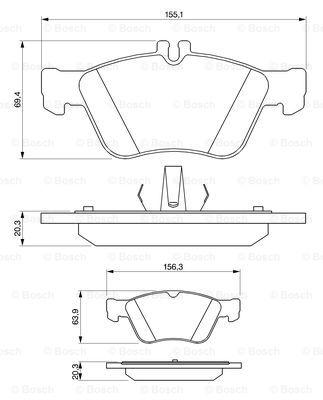 Тормозные колодки передние дисковые MINTEX арт. BO 0986494001