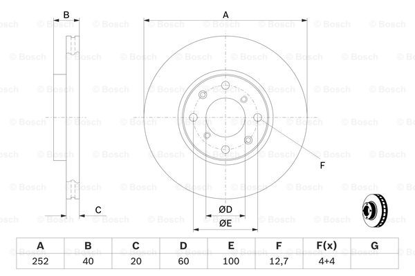 Тормозной диск передний MINTEX арт. BO 0986479308