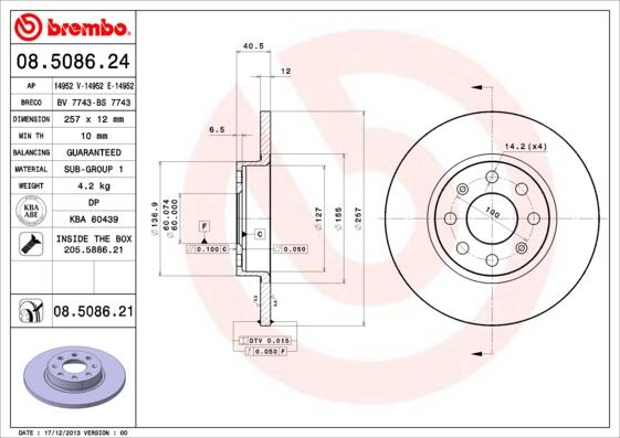 Тормозной диск MINTEX арт. 08.5086.21