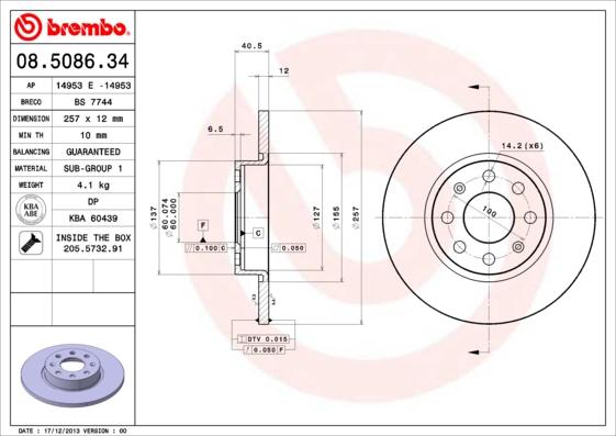 Тормозной диск MINTEX арт. 08.5086.34
