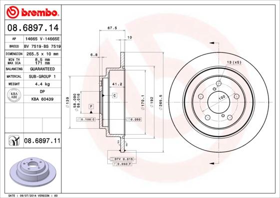 Тормозной диск MINTEX арт. 08.6897.11