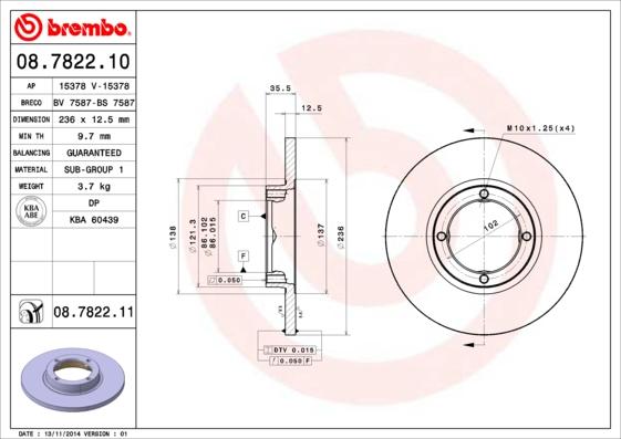 Тормозной диск MINTEX арт. 08.7822.10