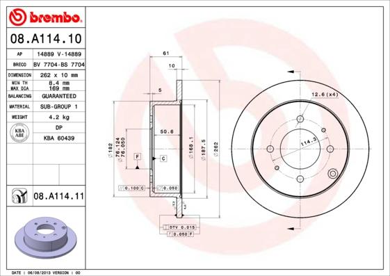 Тормозной диск MINTEX арт. 08.A114.11