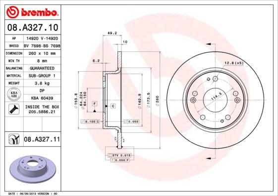 Тормозной диск MINTEX арт. 08.A327.11