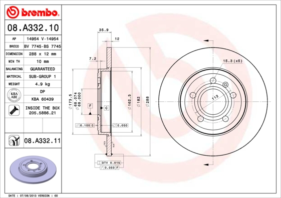 Тормозной диск MINTEX арт. 08.A332.11