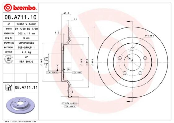 Тормозной диск MINTEX арт. 08.A711.11