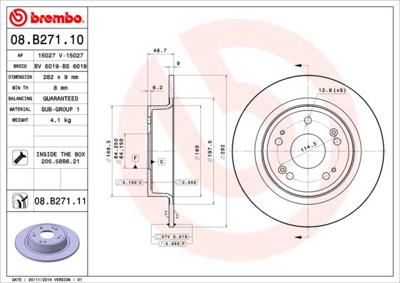 Тормозной диск MINTEX арт. 08.B271.11