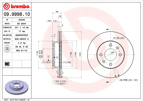 Тормозной диск MINTEX арт. 09.9998.10