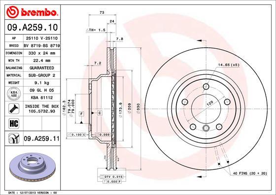 Тормозной диск MINTEX арт. 09.A259.11