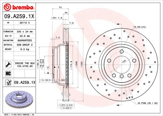Тормозной диск MINTEX арт. 09.A259.1X