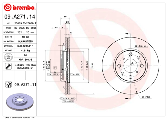 Тормозной диск MINTEX арт. 09.A271.11
