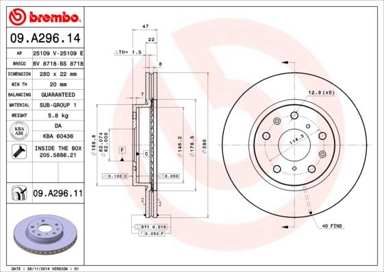 Тормозной диск MINTEX арт. 09.A296.11