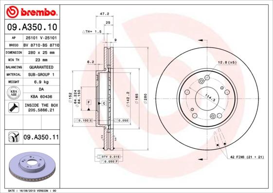 Тормозной диск MINTEX арт. 09.A350.11