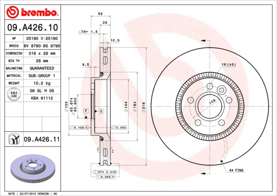 Тормозной диск MINTEX арт. 09.A426.11