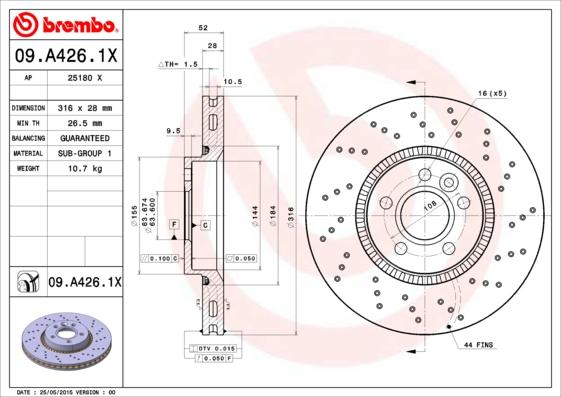 Тормозной диск MINTEX арт. 09.A426.1X