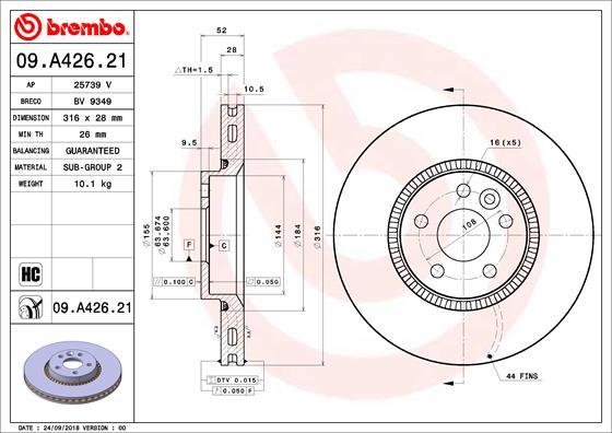 Тормозной диск MINTEX арт. 09.A426.21