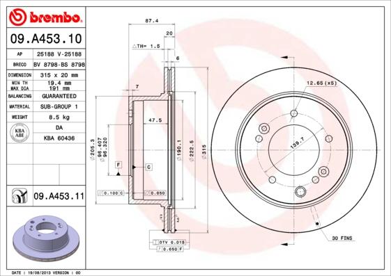 Тормозной диск MINTEX арт. 09.A453.11