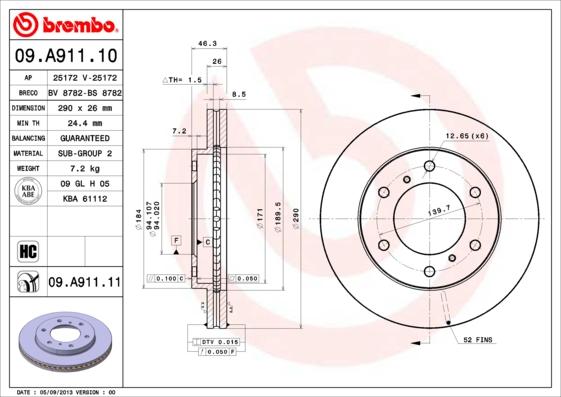 Тормозной диск MINTEX арт. 09.A911.10