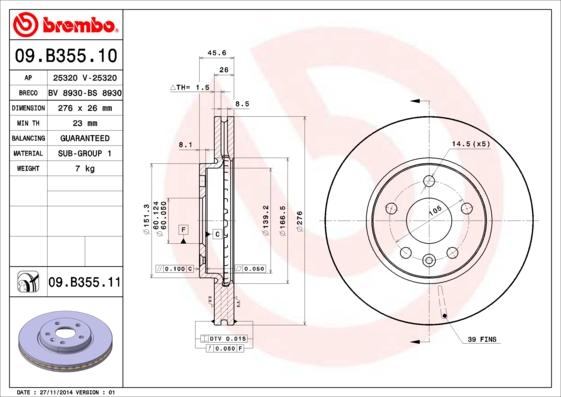 Тормозной диск MINTEX арт. 09.B355.10