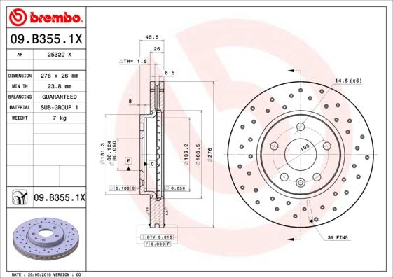 Тормозной диск MINTEX арт. 09.B355.1X