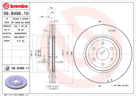 Тормозной диск MINTEX арт. 09.B496.10