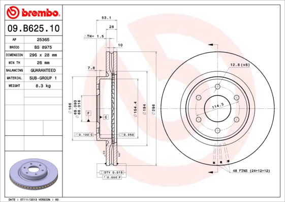 Тормозной диск MINTEX арт. 09.B625.10