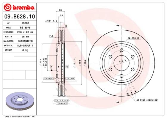 Тормозной диск MINTEX арт. 09.B628.10