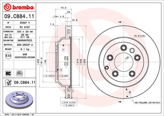 Тормозной диск MINTEX арт. 09.C884.11