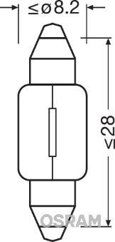 Лампа накаливания, oсвещение салона PHILIPS арт. OS 6428