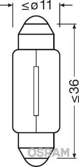 Лампа накаливания, oсвещение салона PHILIPS арт. OS 6461