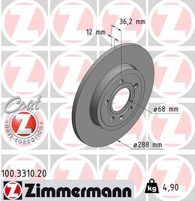 Тормозной диск MINTEX арт. 100.3310.20