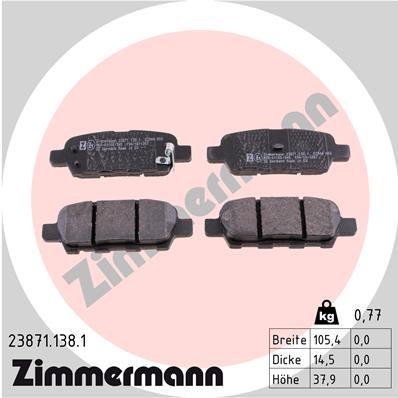 Тормозные колодки задние дисковые MINTEX арт. 238711381