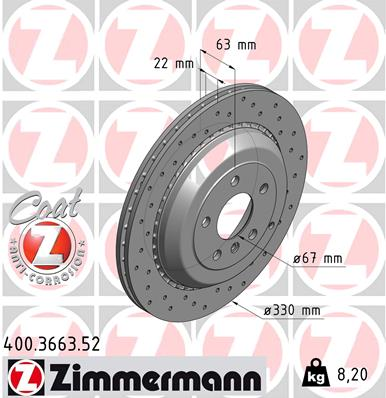 Тормозной диск MINTEX арт. 400.3663.52