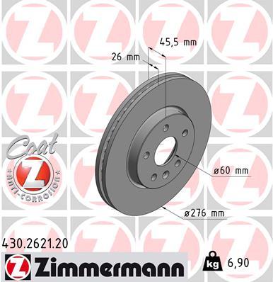Тормозной диск MINTEX арт. ZI 430.2621.20