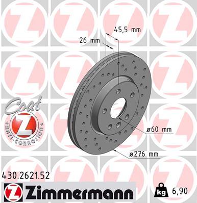 Тормозной диск MINTEX арт. ZI 430.2621.52
