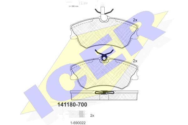 Тормозные колодки дисковые MINTEX арт. 141180-700