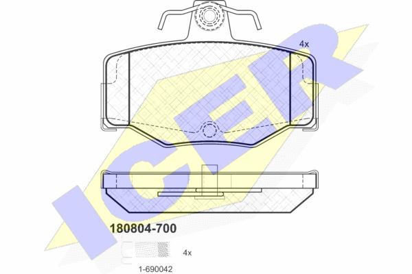 Тормозные колодки дисковые MINTEX арт. 180804-700