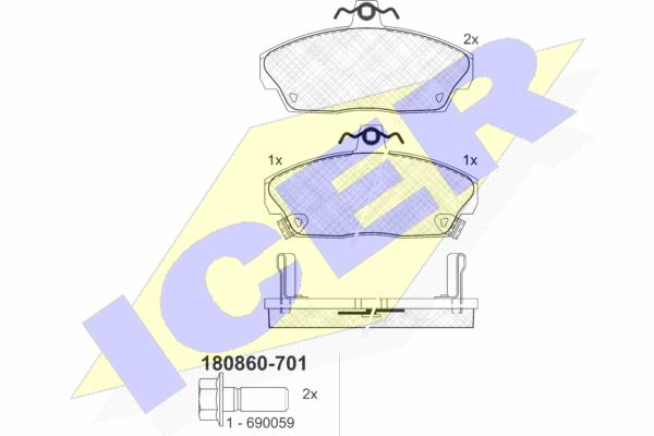 Тормозные колодки передние дисковые MINTEX арт. 180860-701