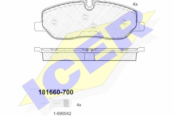 Тормозные колодки дисковые MINTEX арт. 181660-700