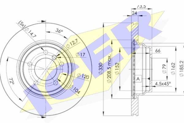 Тормозной диск MINTEX арт. 78BD4645-2